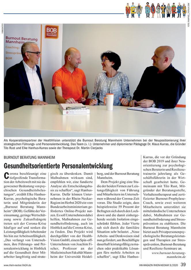 """IKH Magazin Rhein Neckar, Ausgabe 9/2020 mit Artikel über die BOB Mannheim """"Gesundheitsorientierte Personalentwicklung"""""""